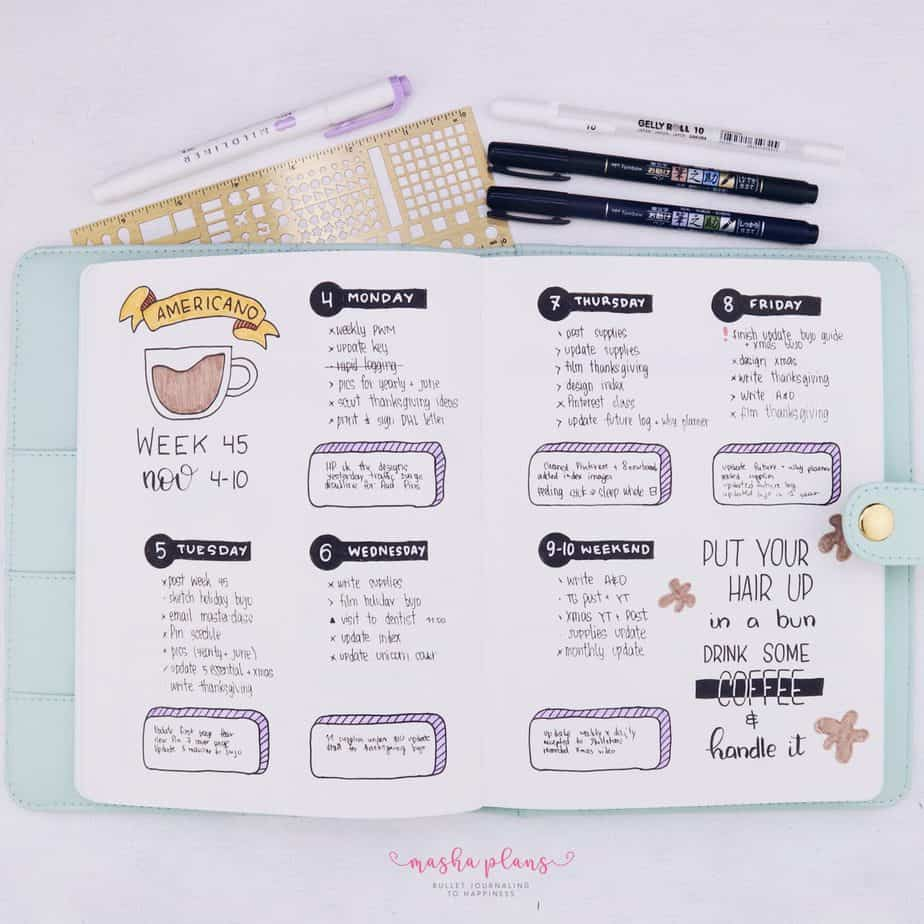 How To Set Up A Bullet Journal: Step By Step Bullet Journal Setup Guide - weekly spread | Masha Plans