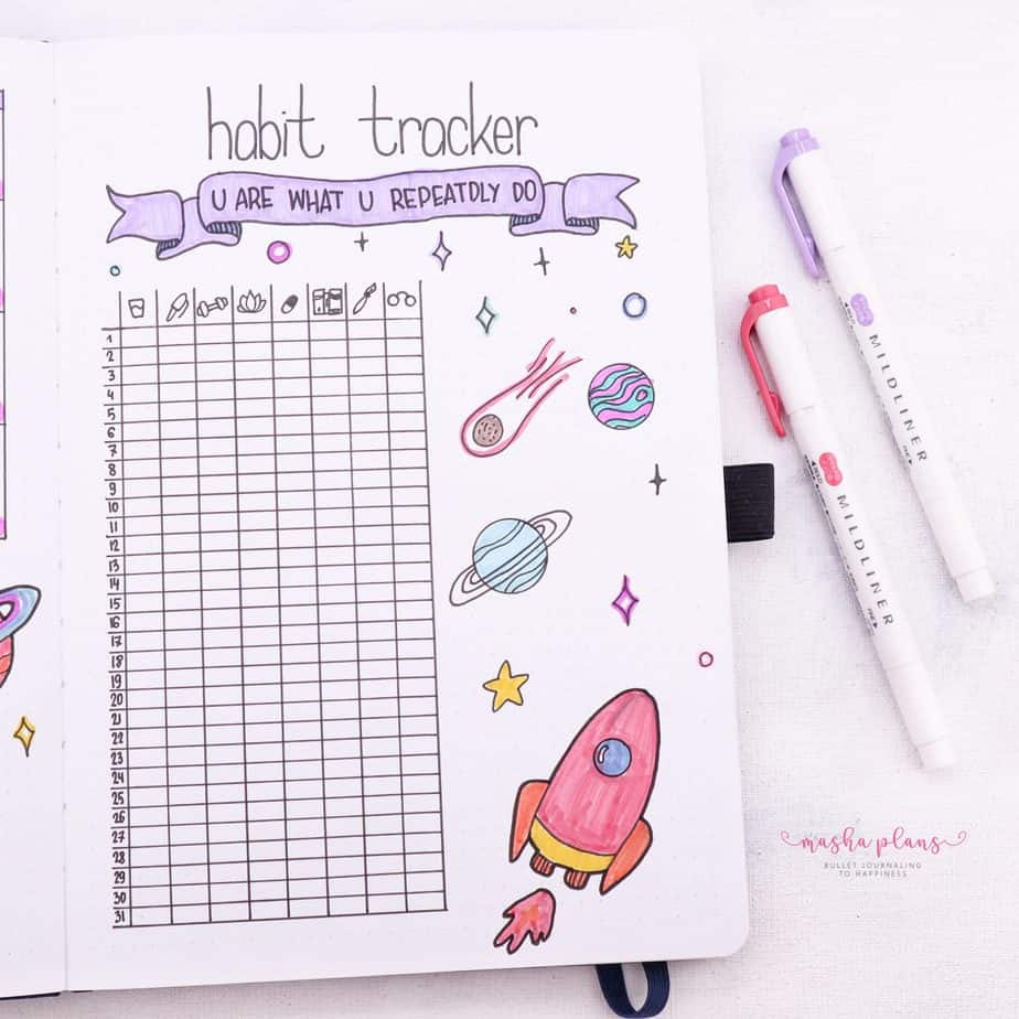 How To Set Up A Bullet Journal: Step By Step Bullet Journal Setup Guide - habit tracker | Masha Plans