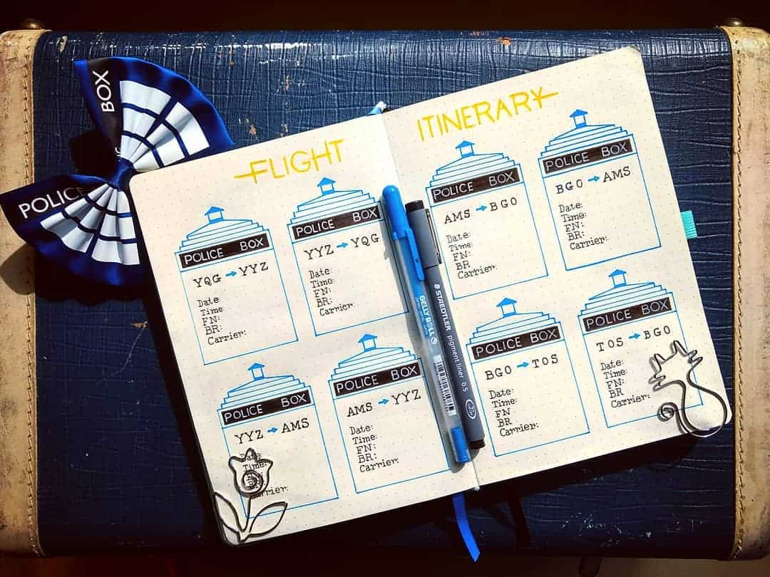 Creative Travel Bullet Journal Page Ideas To Plan A Perfect Vacation, flight info by @1geekynerd | Masha Plans