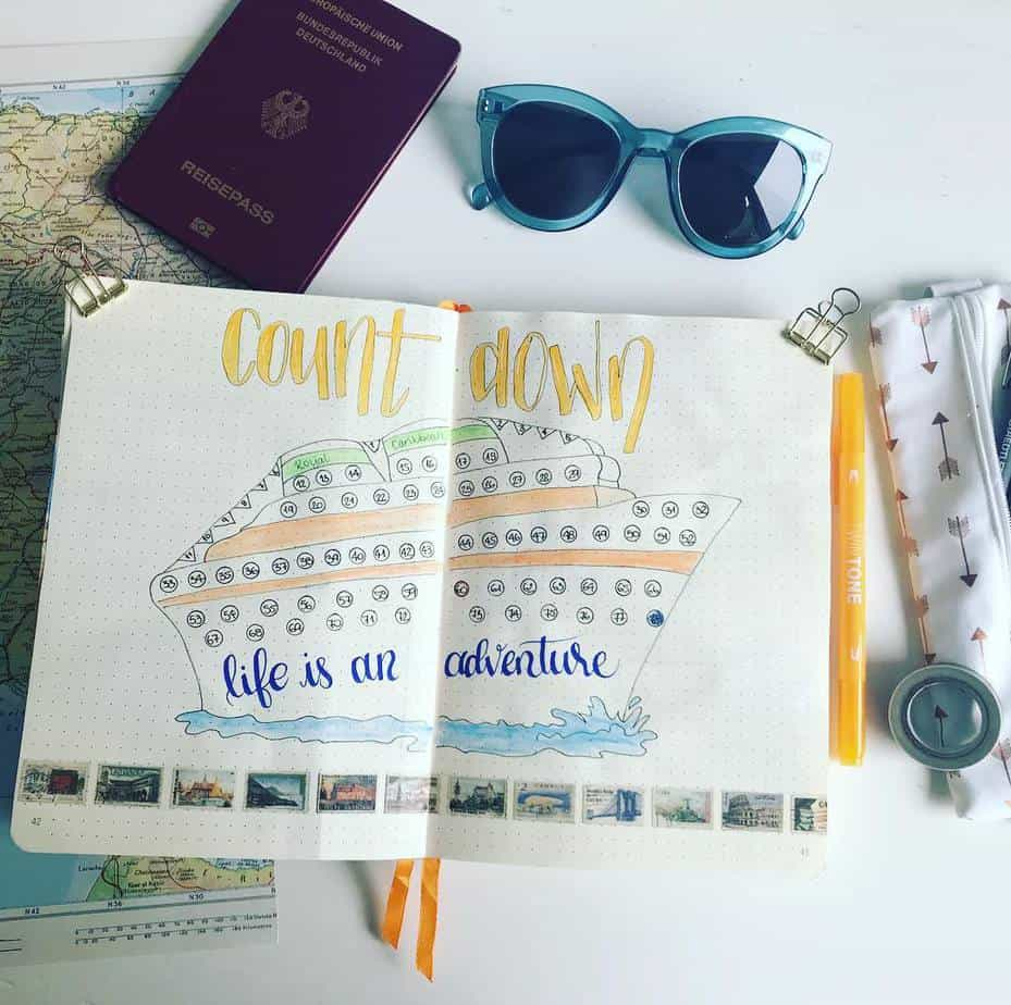 Creative Travel Bullet Journal Page Ideas To Plan A Perfect Vacation, countdown by @amazinglymarvelous | Masha Plans