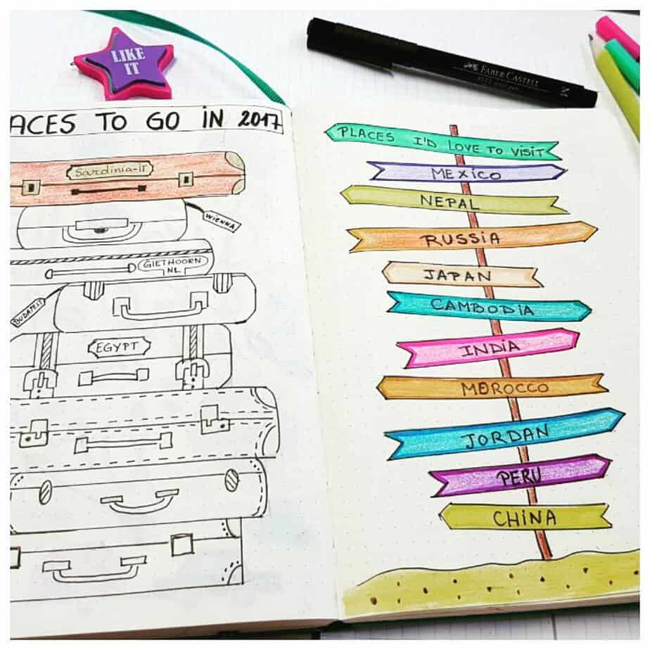 Creative Travel Bullet Journal Page Ideas To Plan A Perfect Vacation, places to go by @beagurban | Masha Plans