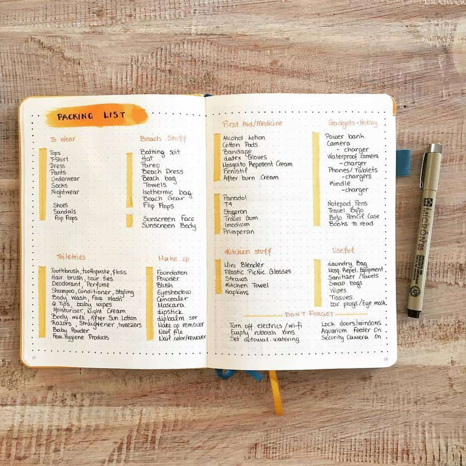 Creative Travel Bullet Journal Page Ideas To Plan A Perfect Vacation, packing list by @bujoncoffee | Masha Plans