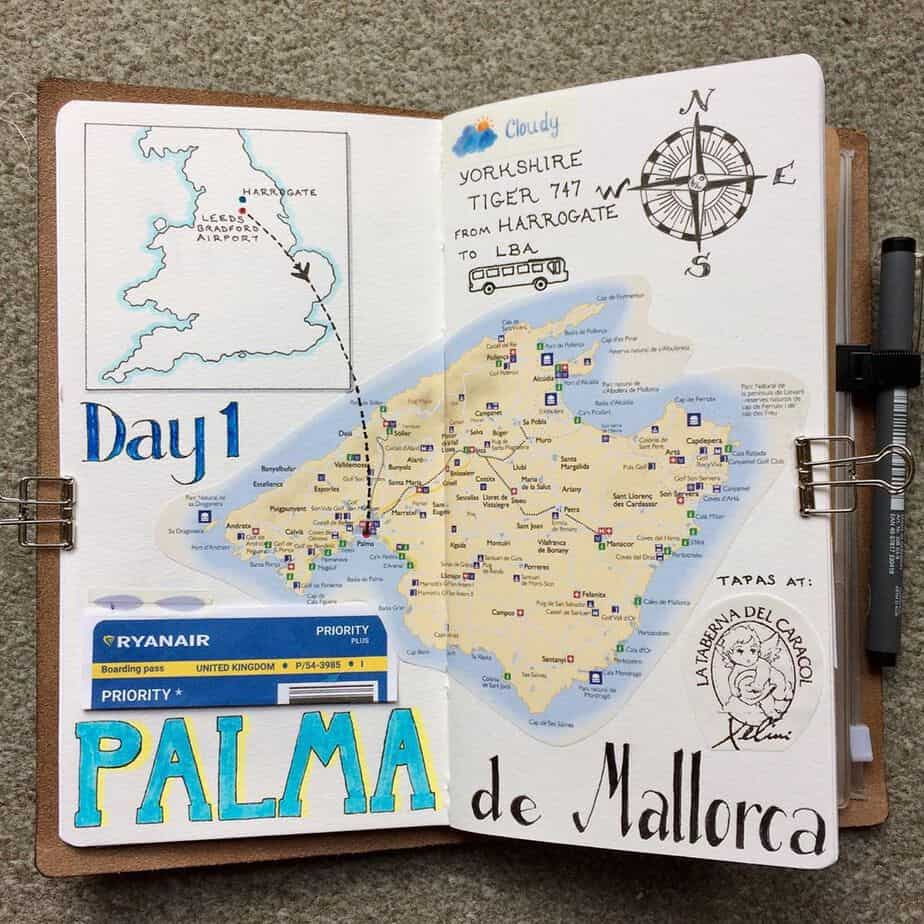 Creative Travel Bullet Journal Page Ideas To Plan A Perfect Vacation, itinerary by @dotty.daydreams | Masha Plans