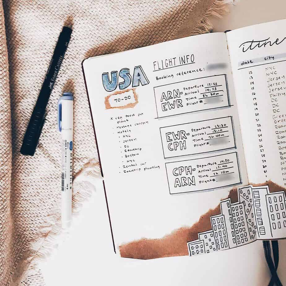 Creative Travel Bullet Journal Page Ideas To Plan A Perfect Vacation, flight info by @lisenlettering | Masha Plans