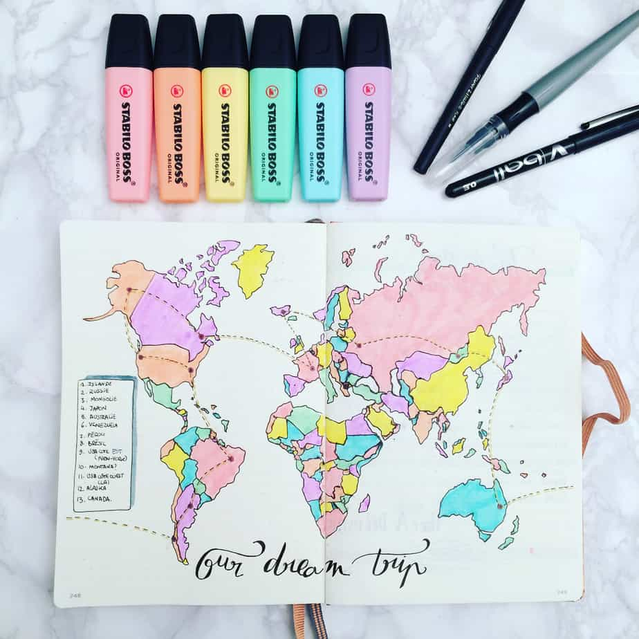 Creative Travel Bullet Journal Page Ideas To Plan A Perfect Vacation, places to go by @margaux_polooo | Masha Plans