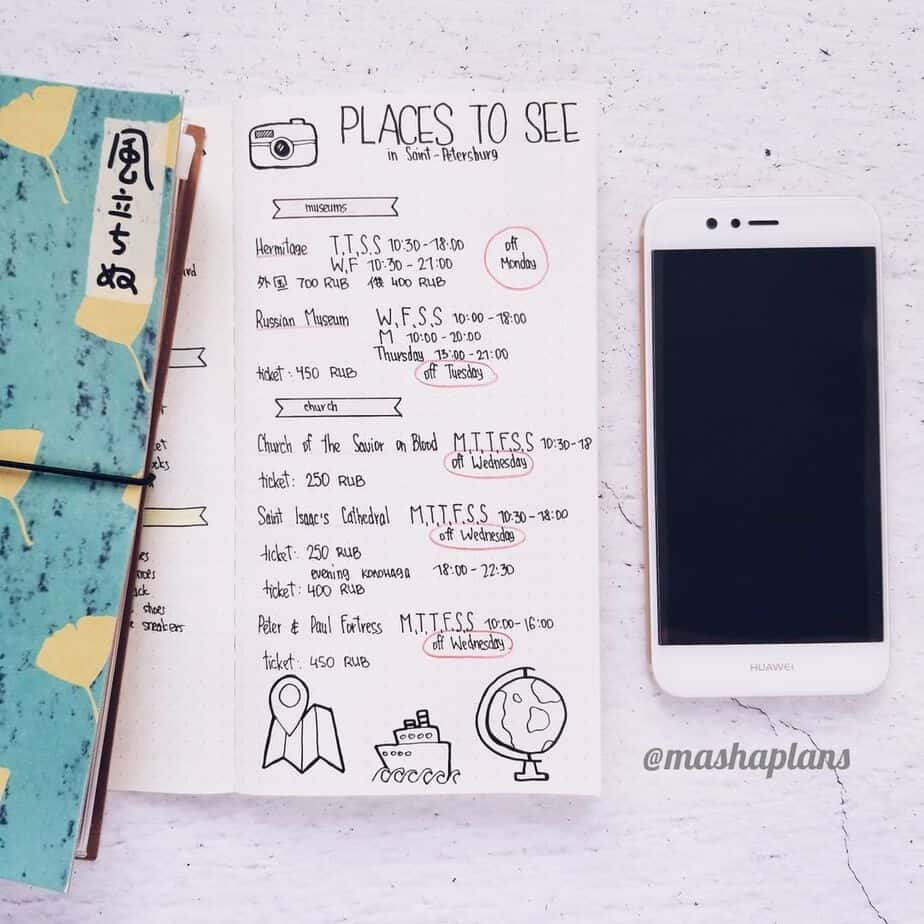 Creative Travel Bullet Journal Page Ideas To Plan A Perfect Vacation, things to do by @mashaplans | Masha Plans