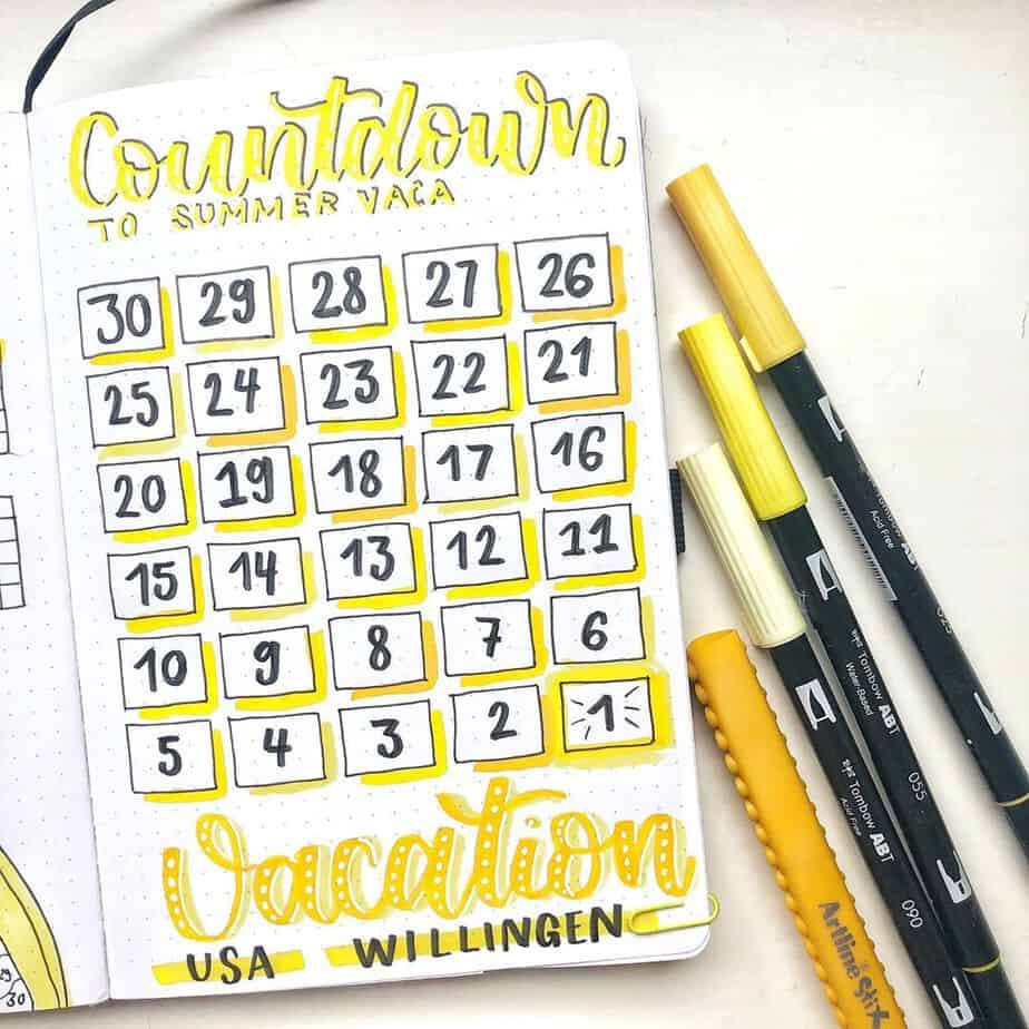 Creative Travel Bullet Journal Page Ideas To Plan A Perfect Vacation, countdown by @mydottedjournal | Masha Plans
