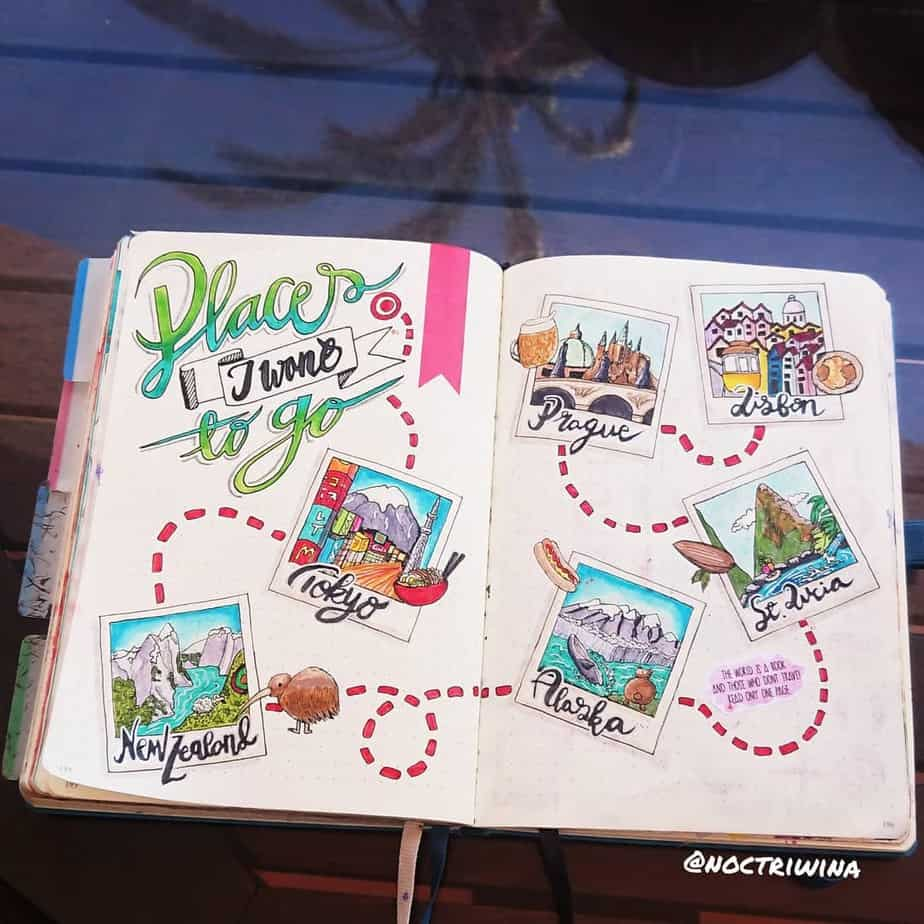 Creative Travel Bullet Journal Page Ideas To Plan A Perfect Vacation, places to go by @noctriwina | Masha Plans