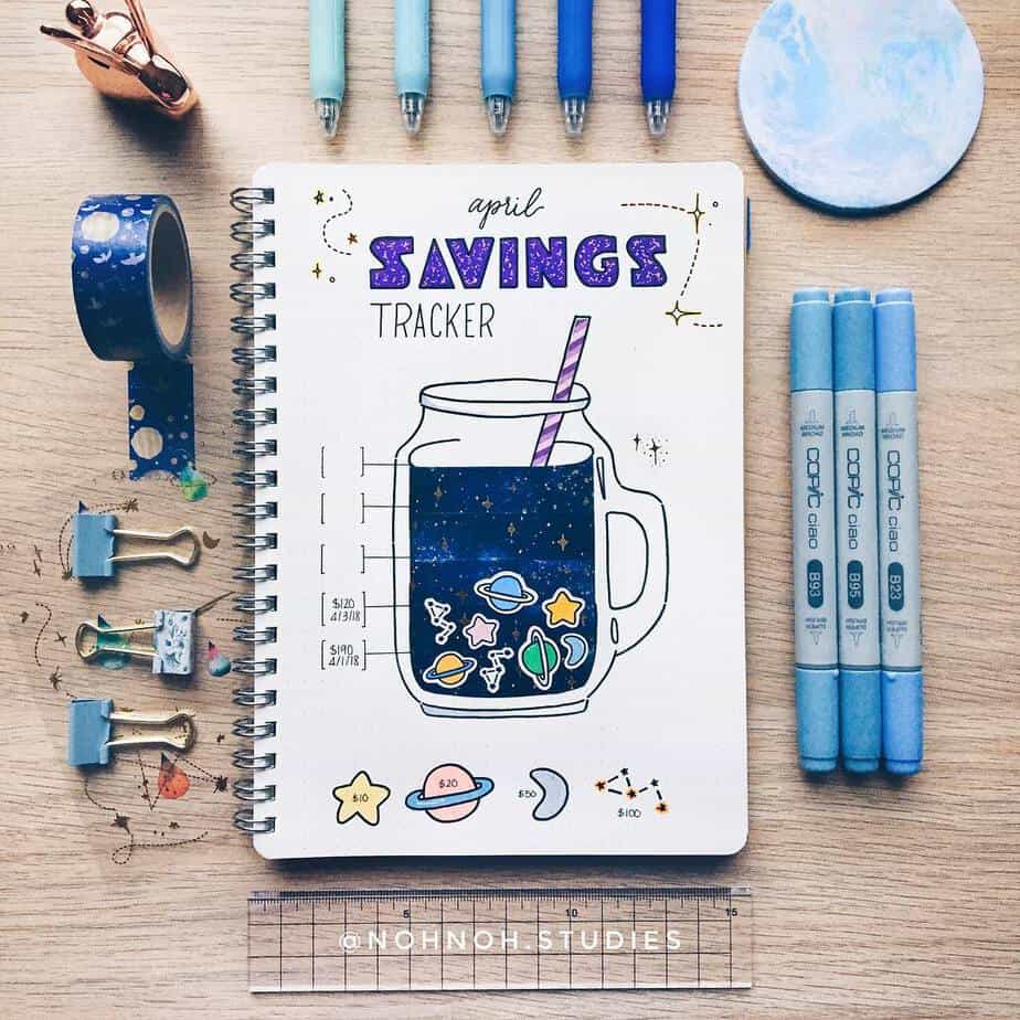 Creative Travel Bullet Journal Page Ideas To Plan A Perfect Vacation, savings tracker by @nohnoh.studies | Masha Plans
