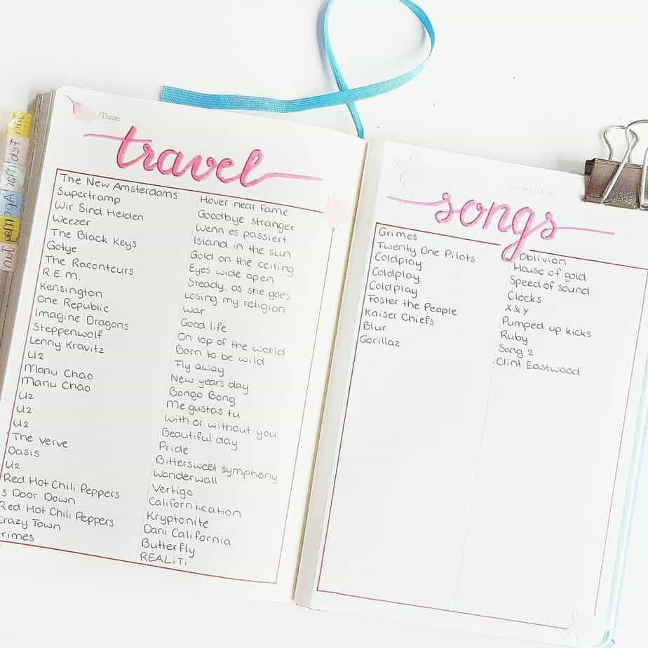 Creative Travel Bullet Journal Page Ideas To Plan A Perfect Vacation, travel playlist by @pens.and.planners | Masha Plans