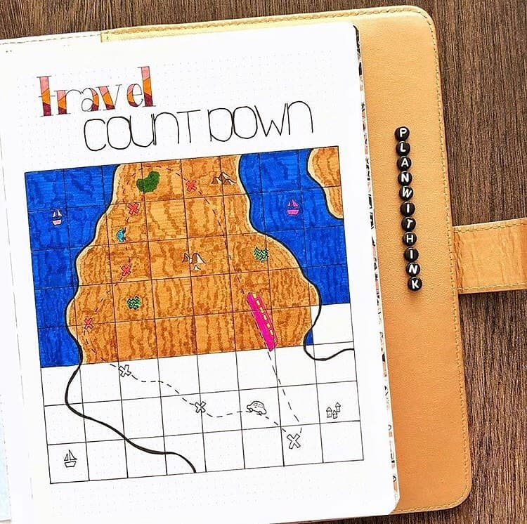 Creative Travel Bullet Journal Page Ideas To Plan A Perfect Vacation, countdown by @planwithink | Masha Plans
