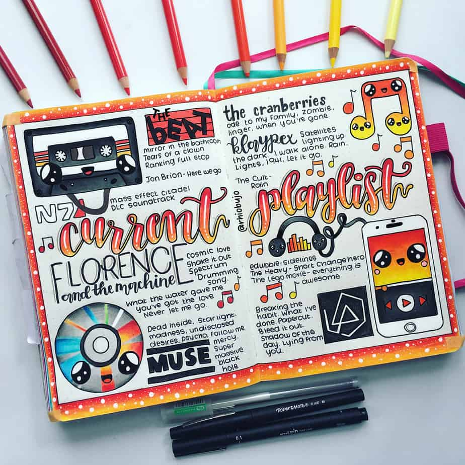 Creative Travel Bullet Journal Page Ideas To Plan A Perfect Vacation, travel playlist by @rhioillustrates | Masha Plans
