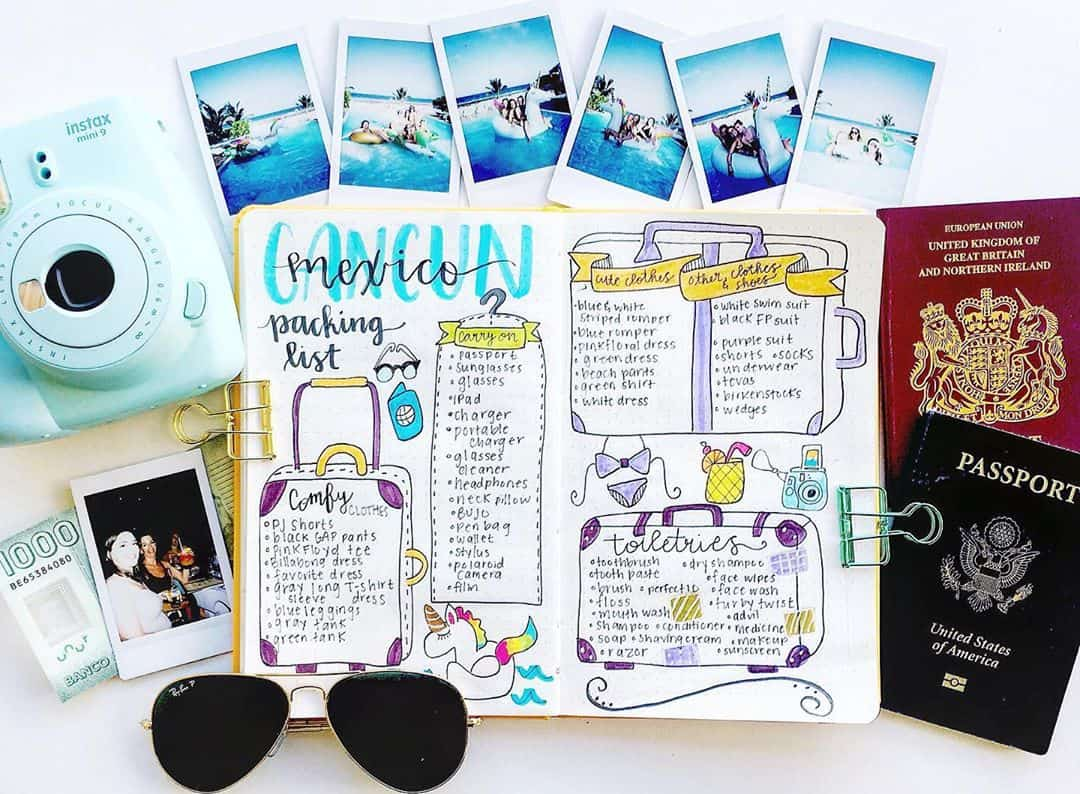 Creative Travel Bullet Journal Page Ideas To Plan A Perfect Vacation, packing list by @spocreative.co | Masha Plans