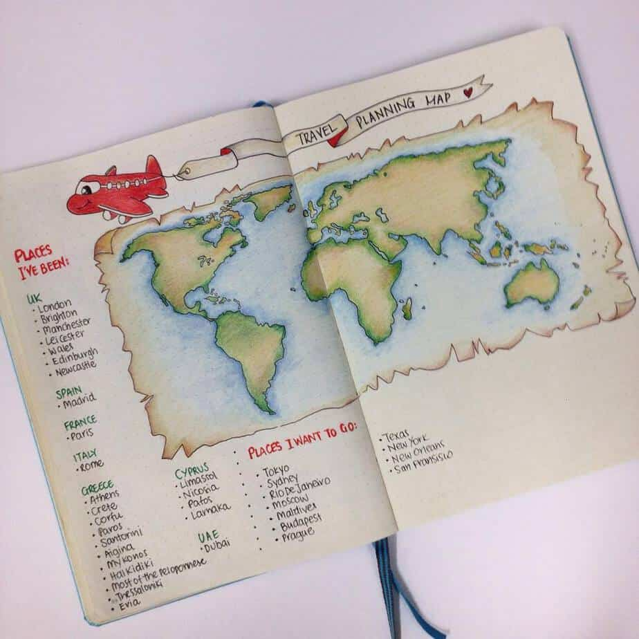 Creative Travel Bullet Journal Page Ideas To Plan A Perfect Vacation, places to go by @squarelimedesigns | Masha Plans
