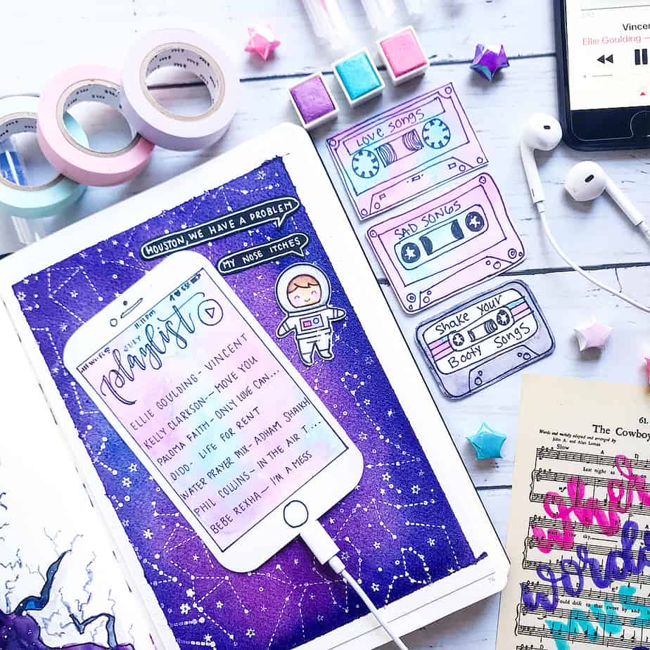Creative Travel Bullet Journal Page Ideas To Plan A Perfect Vacation, travel playlist by @xpaperwingsx | Masha Plans