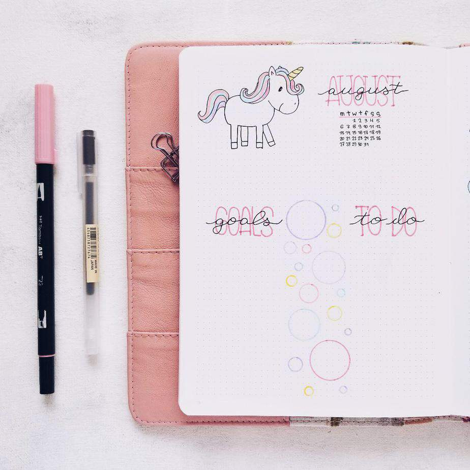 Unicorn Bullet Journal Monthly Setup | Monthly Page | Masha Plans