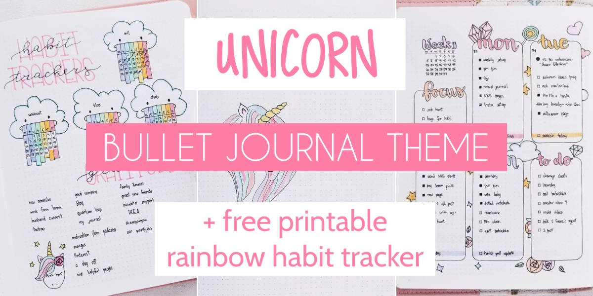 Unicorn Bullet Journal Theme: Plan With Me | Masha Plans