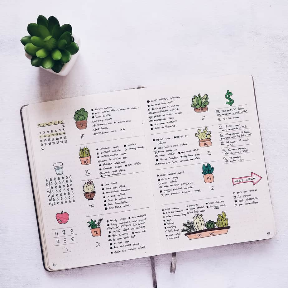 BuJo Page Ideas: weekly spread | Masha Plans
