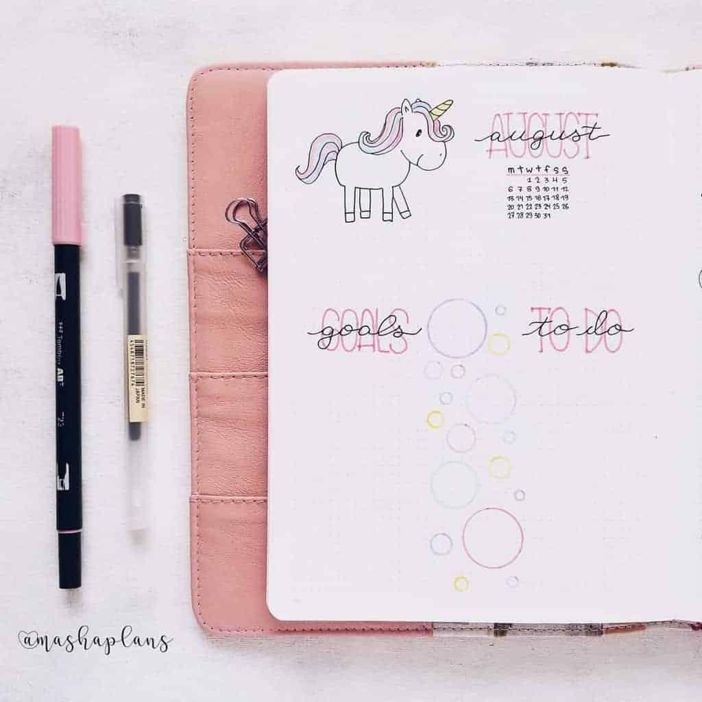 Unicorn Bullet Journal Theme - monthly log | Masha Plans