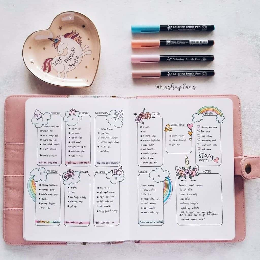 Unicorn Bullet Journal Theme - weekly spread | Masha Plans