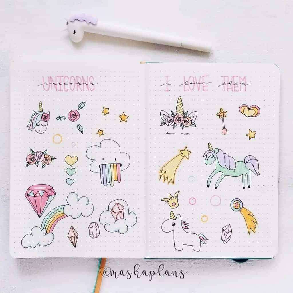Unicorn Bullet Journal Theme - unicorn doodles | Masha Plans