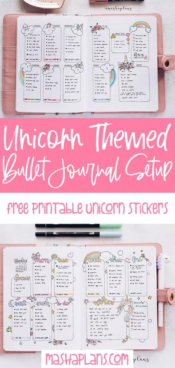 Unicorn Bullet Journal Theme: Plan With Me | Masha Plans