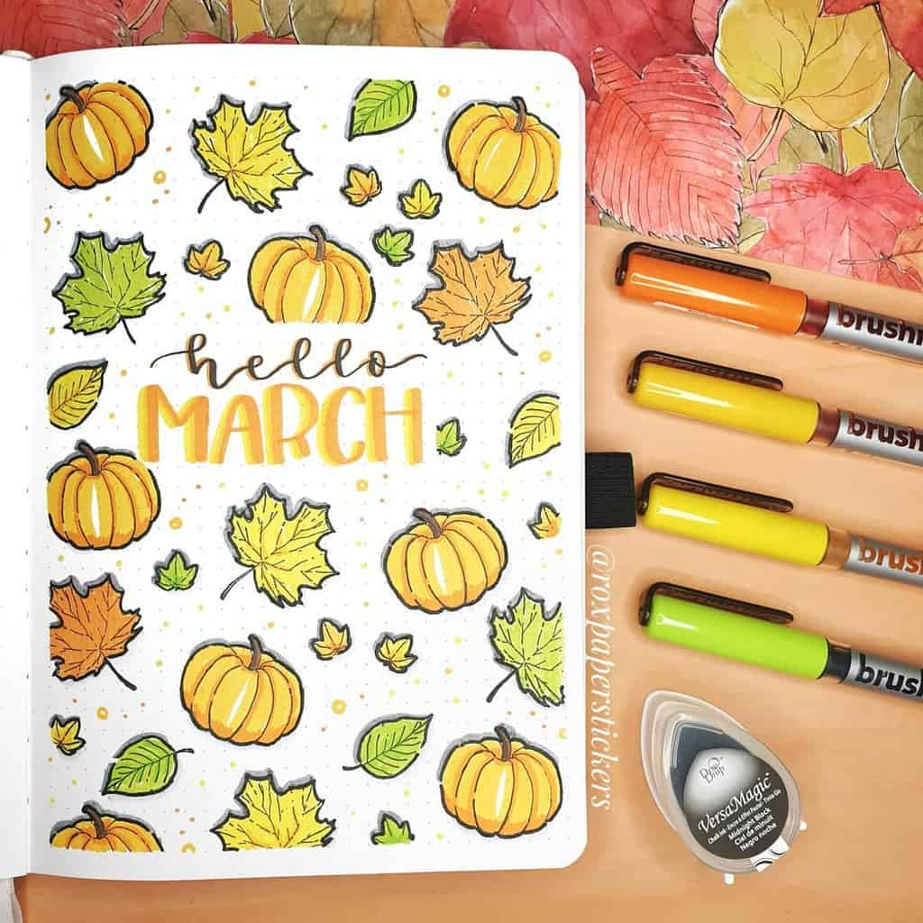 Fall Themed Bullet Journal Cover Page by @ roxpaperstickers | Masha Plans