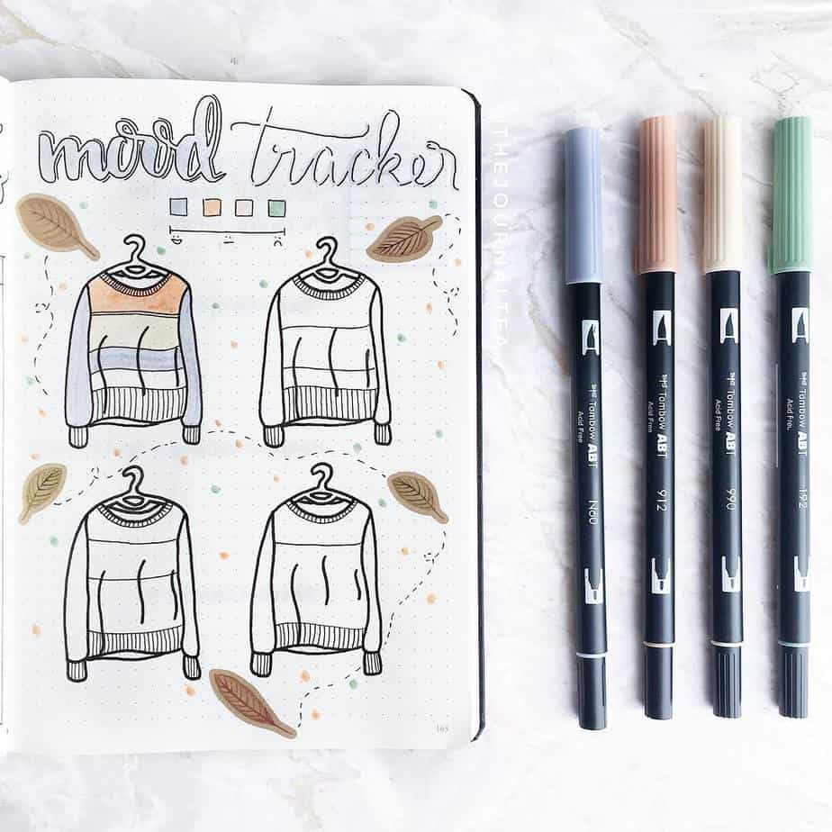 15 Stunning Fall Bullet Journal Theme Ideas, spread by @thejournaltea | Masha Plans