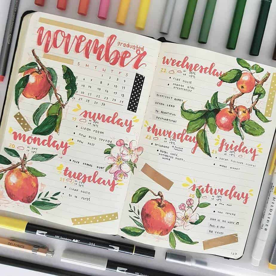 15 Stunning Fall Bullet Journal Theme Ideas, spread by @lishajournals | Masha Plans