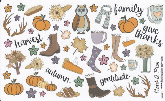 15 Bullet Journal Fall Theme Inspirations | Etsy Stickers | Masha Plans