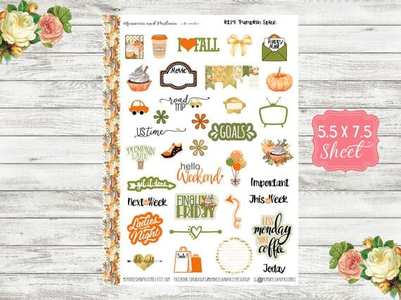 15 Bullet Journal Fall Theme Ispirations | Etsy Stickers | Masha Plans