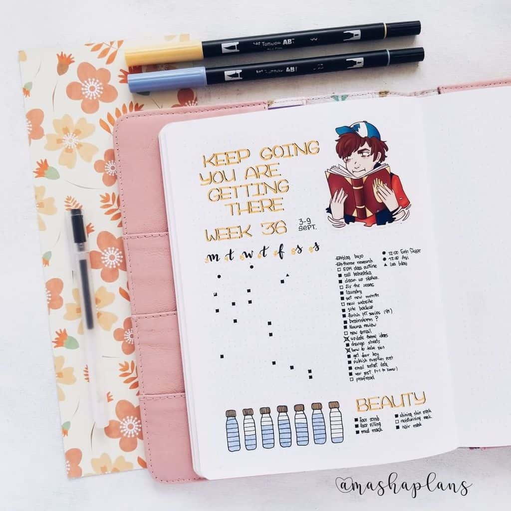 Plan With Me: September Bullet Journal Setup - weekly spread | Masha Plans