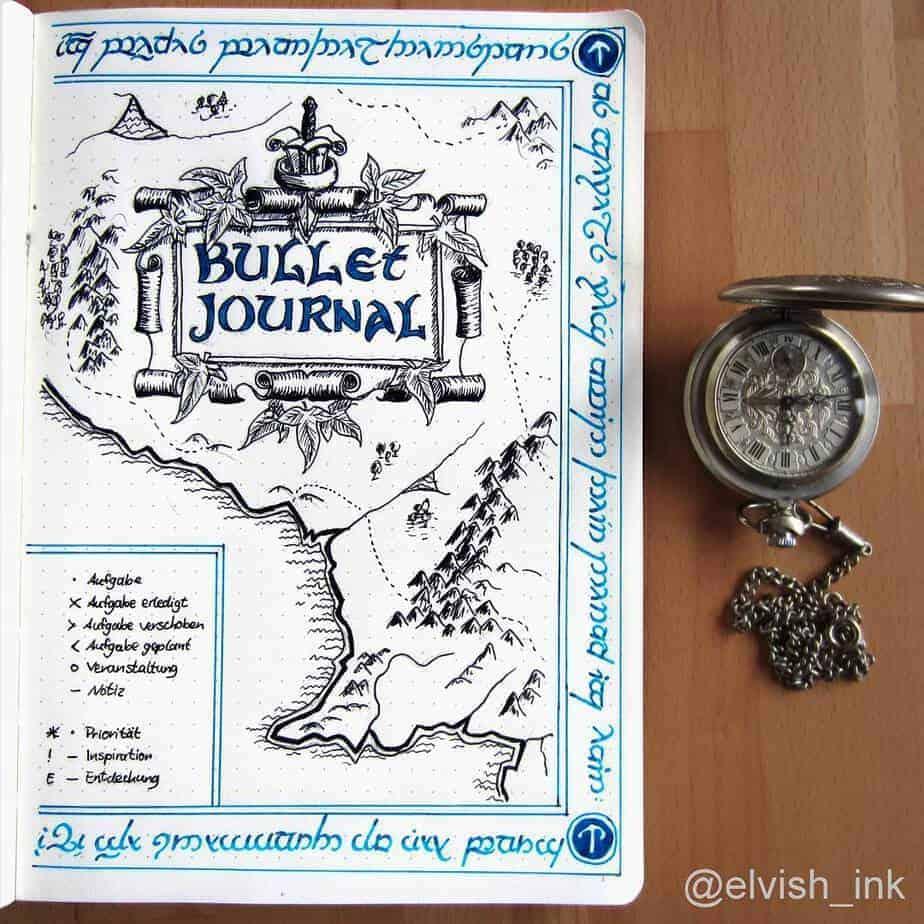 Bullet Journal Theme Ideas: The Ultimate List, spread by @elvish.ink | Masha Plans