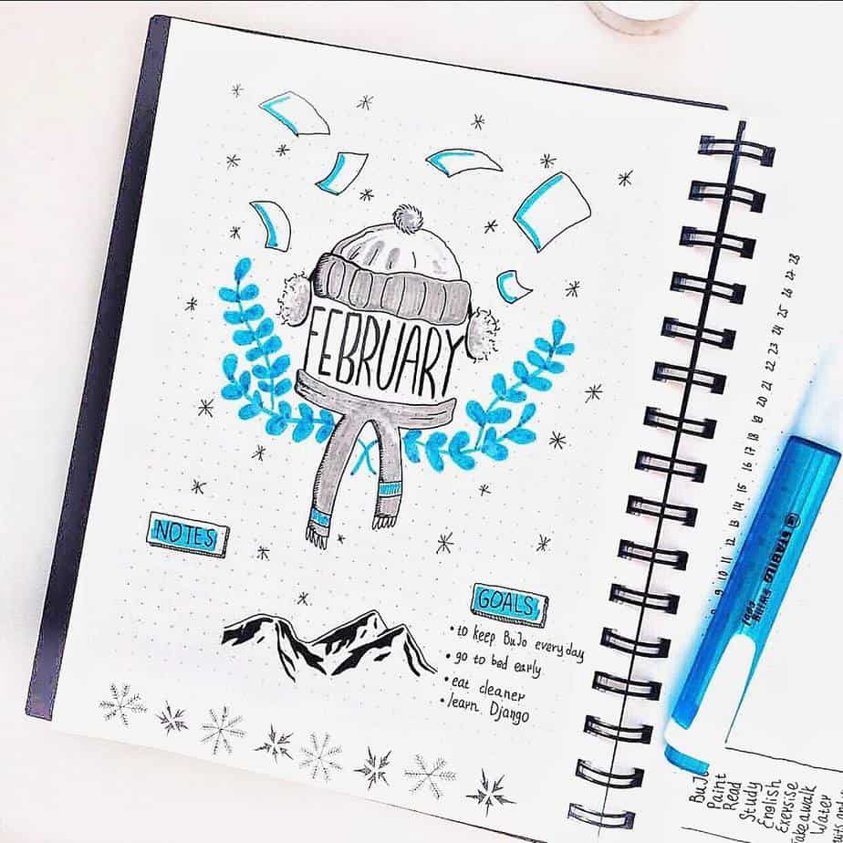 Bullet Journal Theme Ideas: The Ultimate List, spread by @dotted_diary | Masha Plans