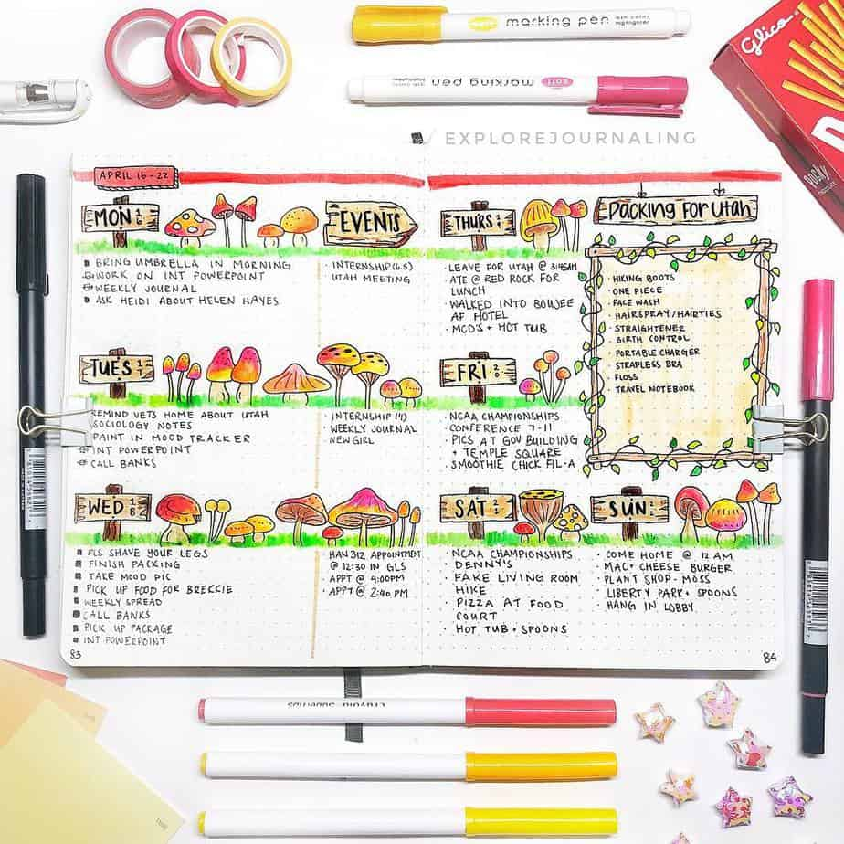 Bullet Journal Theme Ideas: The Ultimate List, spread by @explorejournaling | Masha Plans