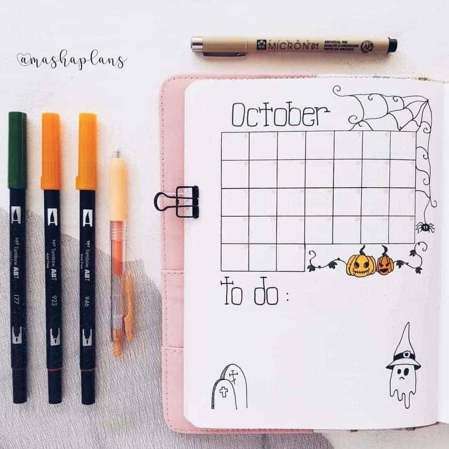 October Bullet Journal Setup, calendar page | Masha Plans