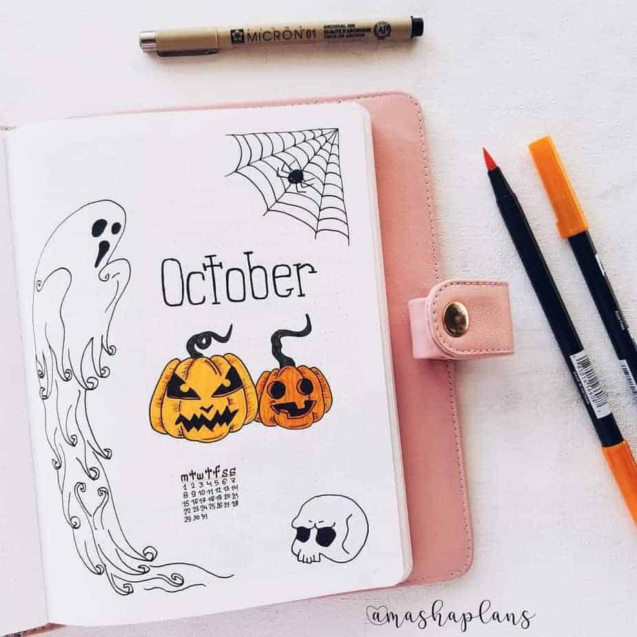October Bullet Journal Setup, cover page | Masha Plans