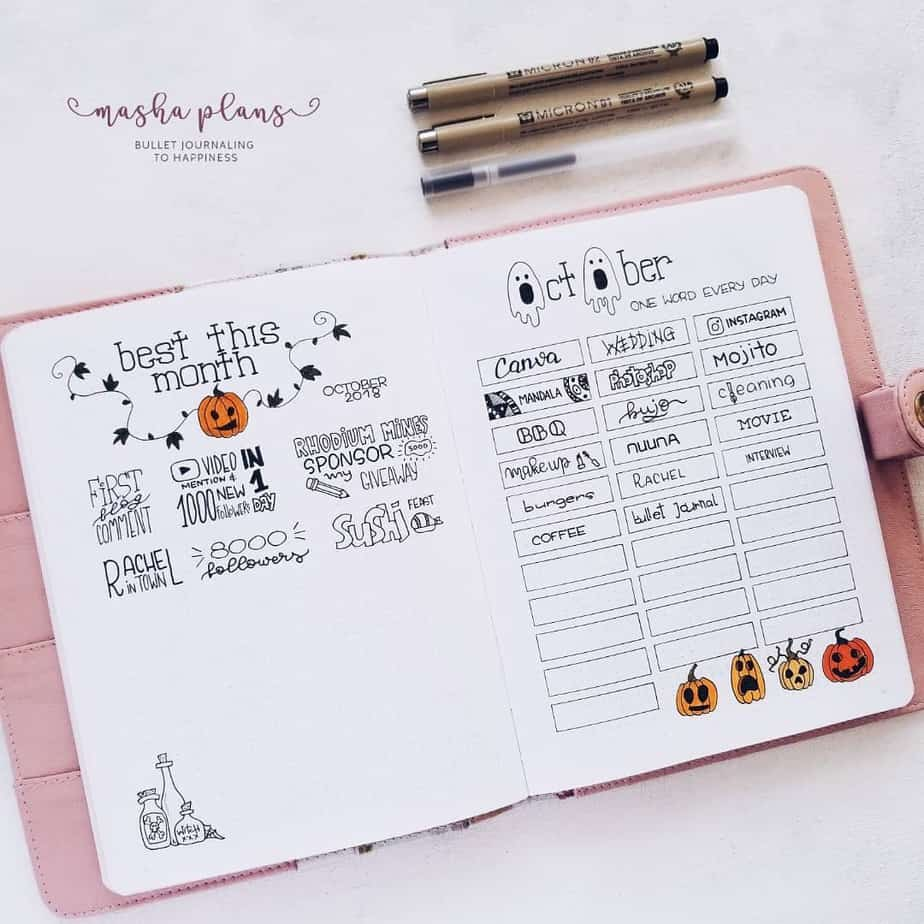 October Bullet Journal Setup, gratitude page | Masha Plans