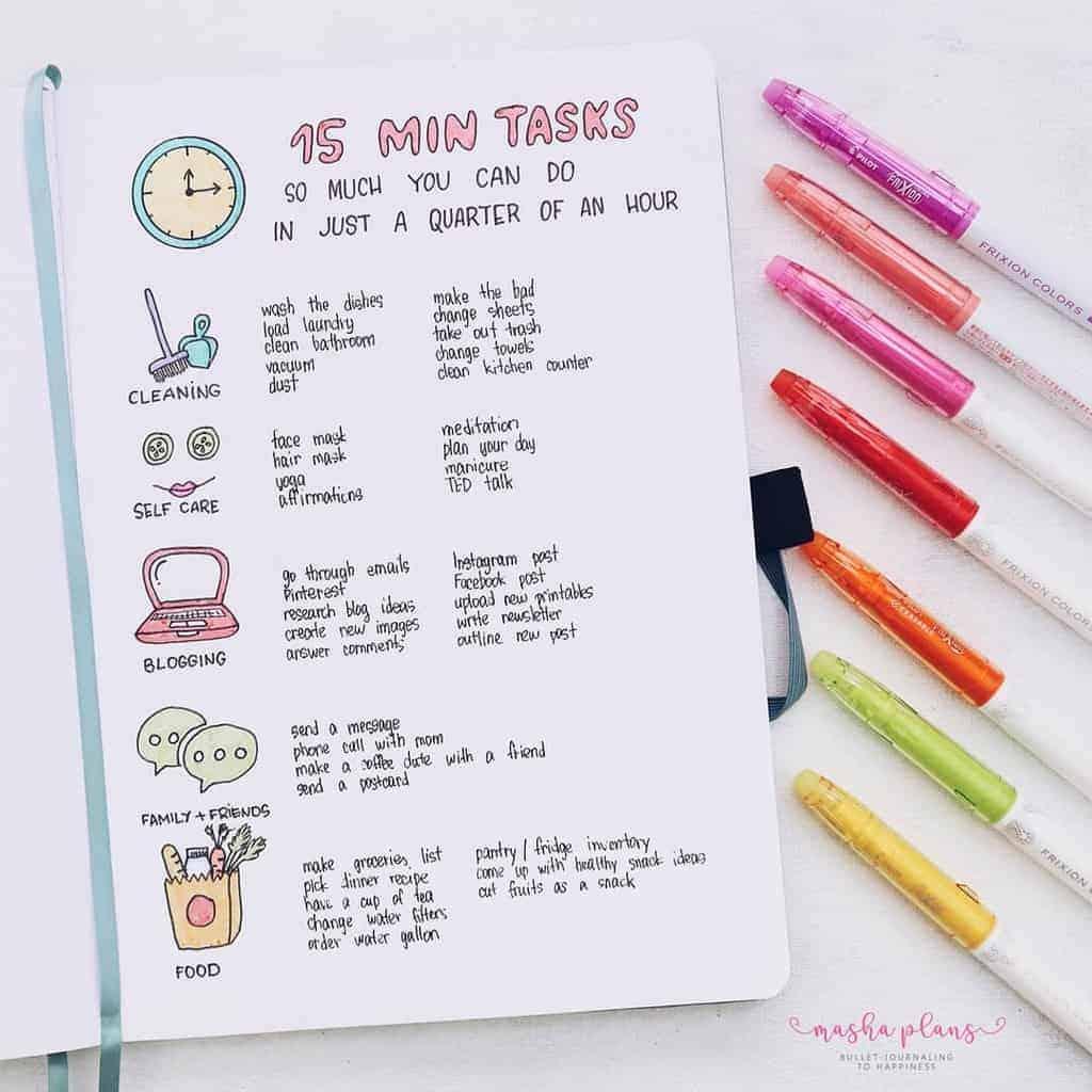 15 minute task list, Bullet Journal for productivity | Masha Plans