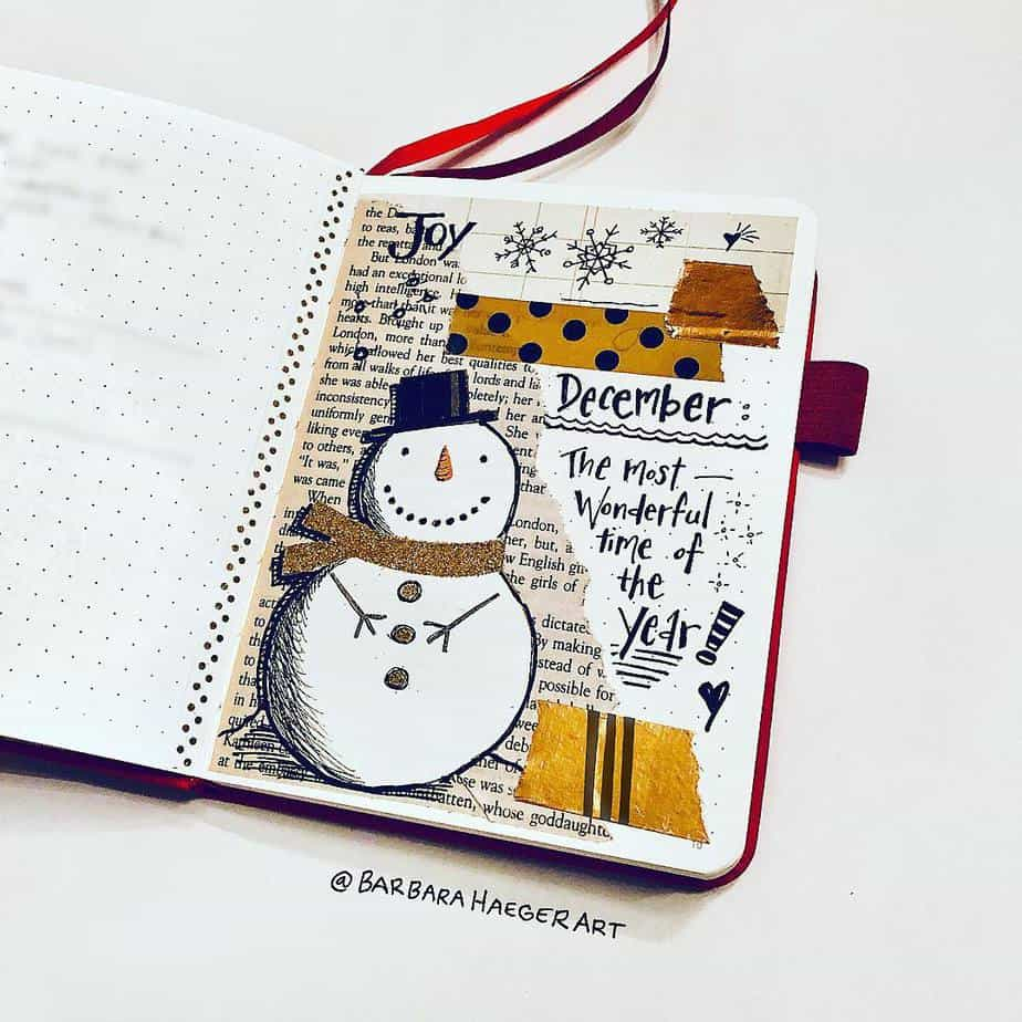 Winter Bullet Journal Theme Ideas - cover by @barbarahaegerart | Masha Plans