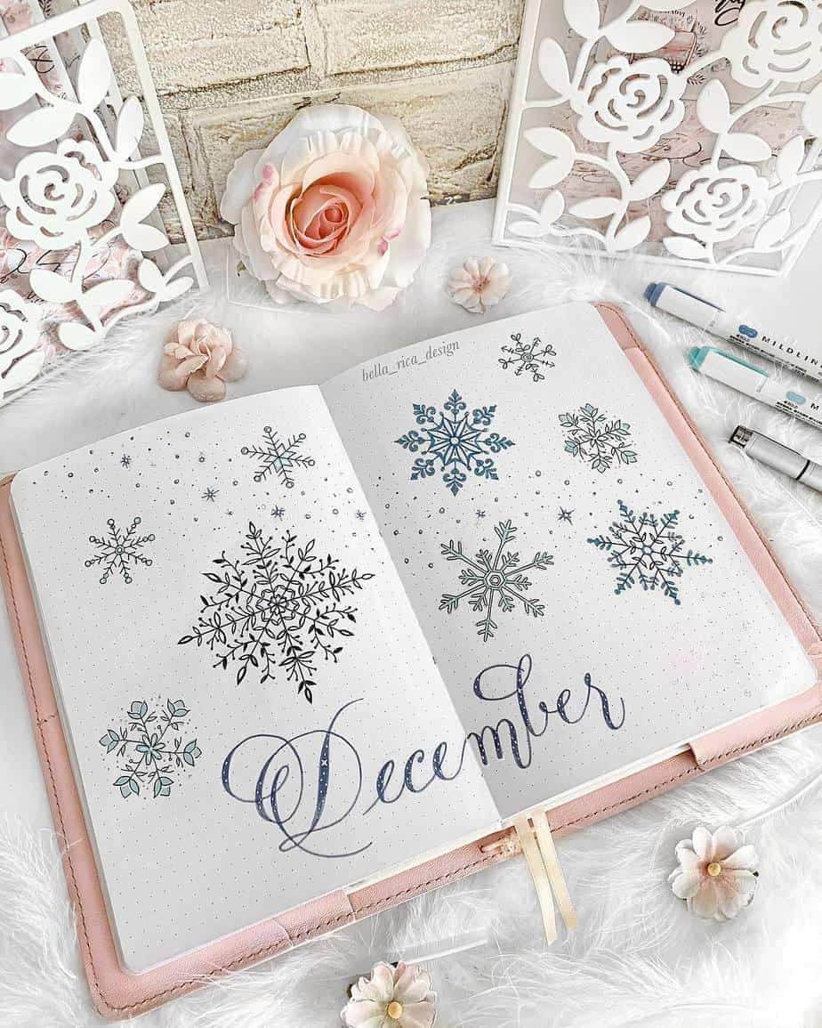 Winter Bullet Journal Theme Ideas - cover page by @bella_rica_design | Masha Plans