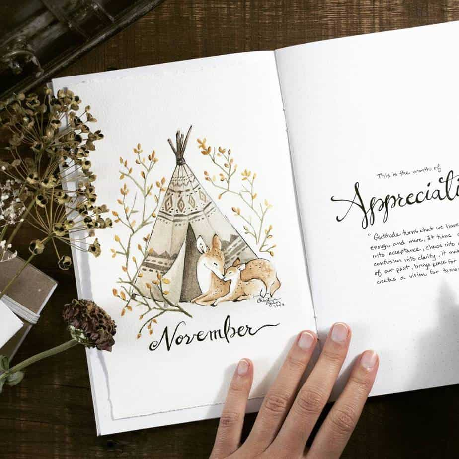 Fall Bullet Journal Theme Ideas - cover page by @blushandmay | Masha Plans