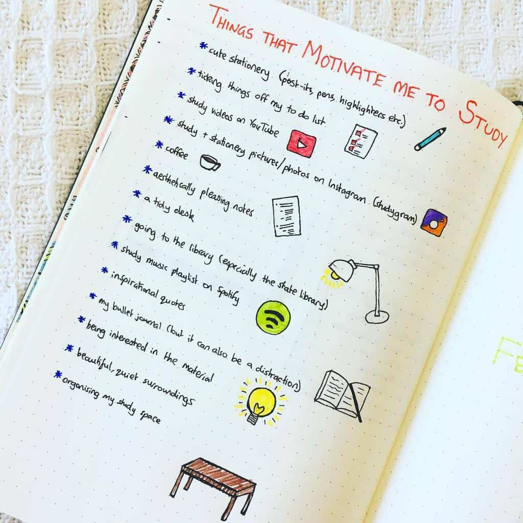 Bullet Journal For School - motivations spread by @bookloverbutslowreader | Masha Plans