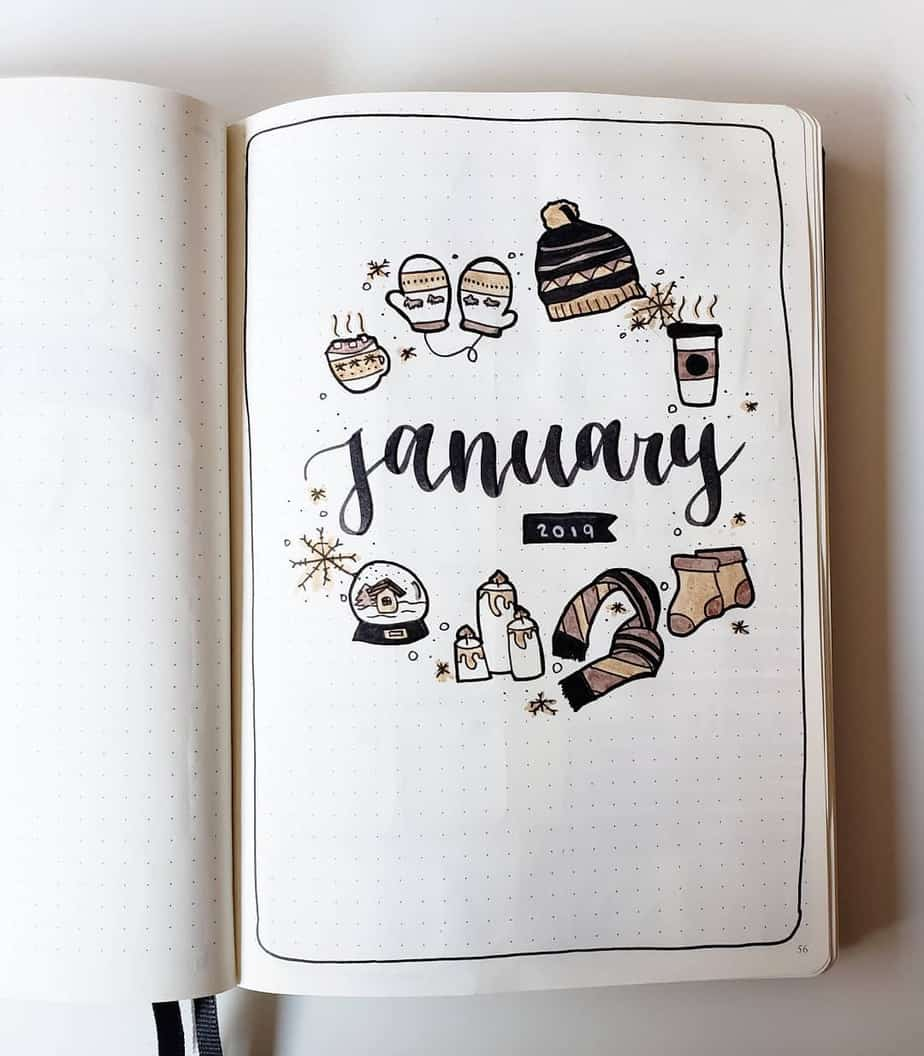 Winter Bullet Journal Theme Ideas - cover page by @bujo.stella | Masha Plans