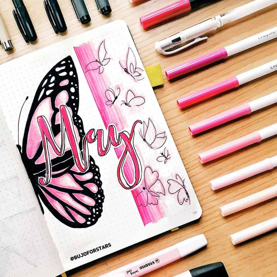 Spring Bullet Journal Theme Ideas - cover page by @bujoforstars | Masha Plans