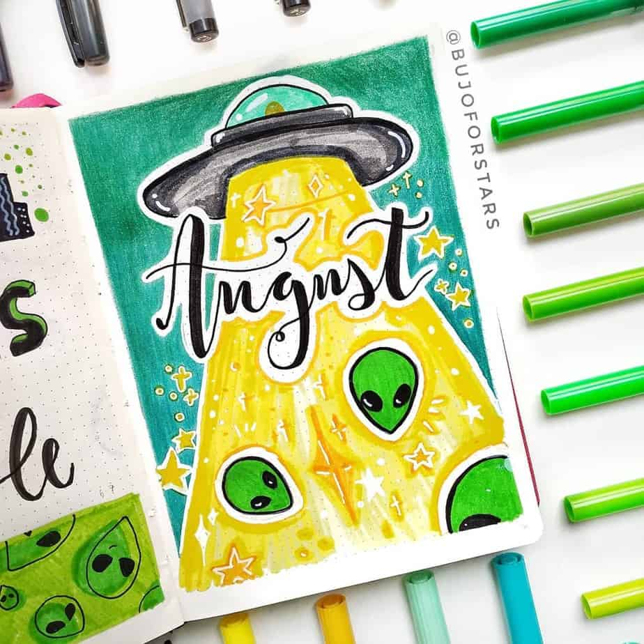 Bullet Journal Theme Ideas - cover page by @bujoforstars | Masha Plans
