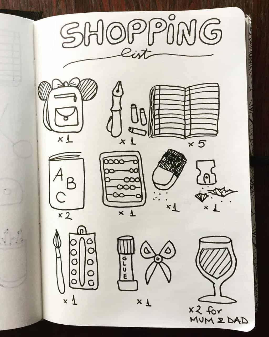 Bullet Journal For School - shopping list by @doodlig | Masha Plans