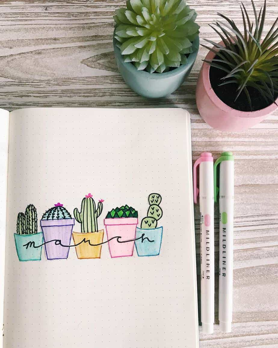 Spring Bullet Journal Theme Ideas - cover page by @doodlingwithalli | Masha Plans