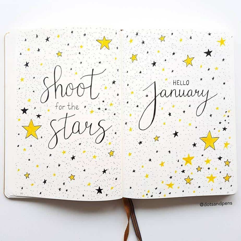 Winter Bullet Journal Theme Ideas - cover page by @dotsandpens | Masha Plans