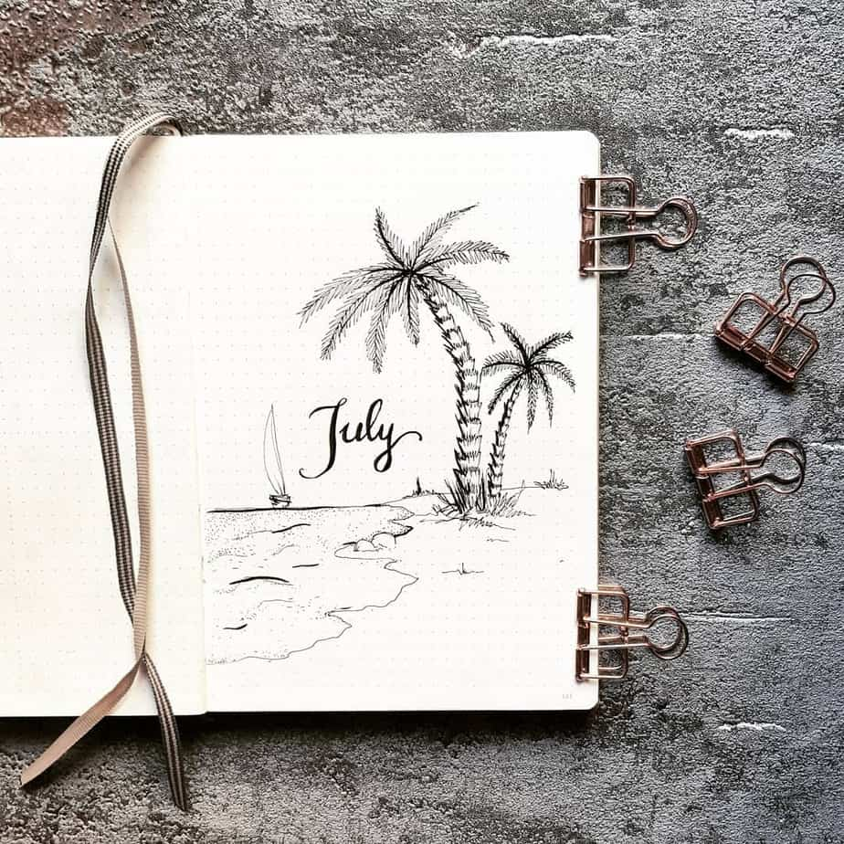 Summer Bullet Journal Theme Ideas - cover page by @dotted.v | Masha Plans
